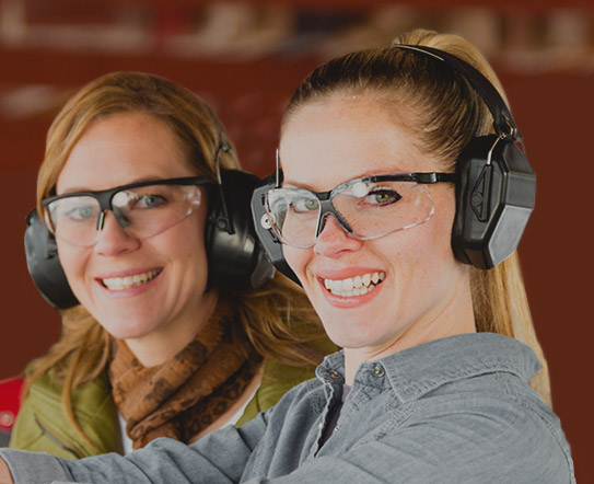 2 women at shooting range